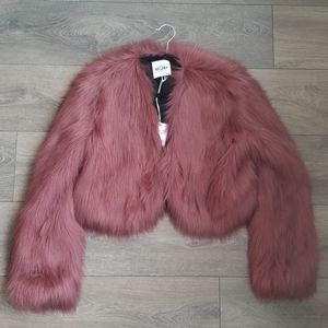Si Jay Faux Fur Crop Jacket Pink Size S and M